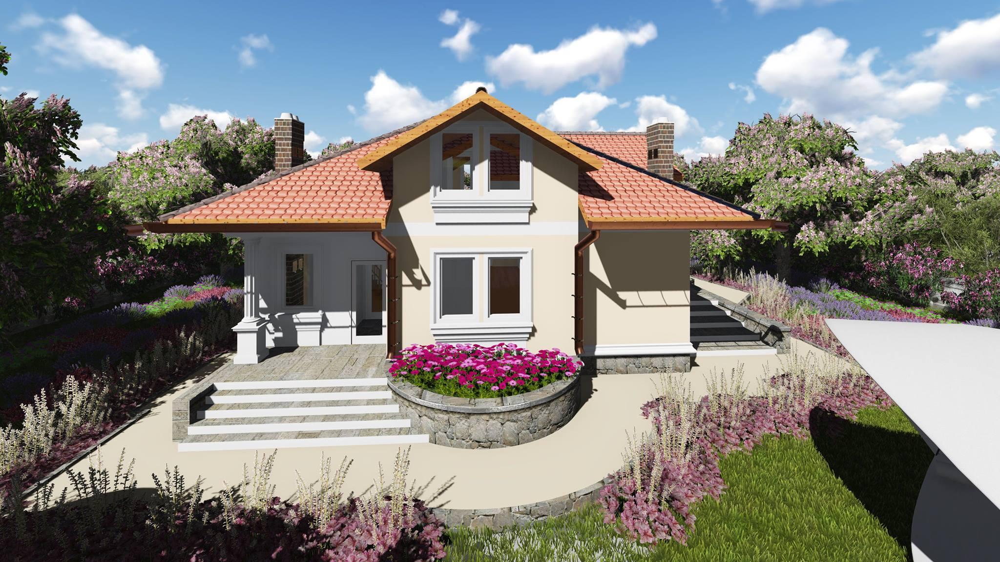 Proiect de casa cu parter si mansarda costesti for Proiecte case cu garaj si mansarda