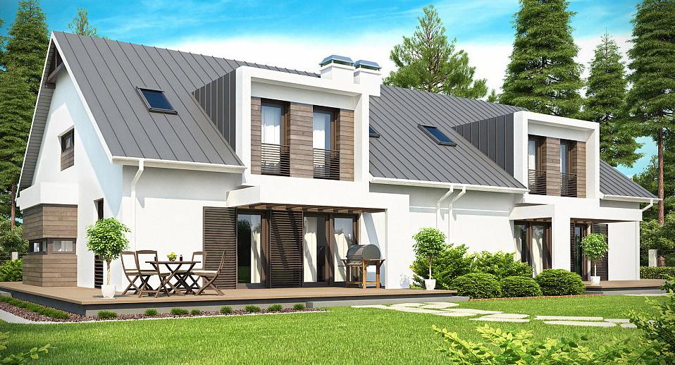 Proiect de casa duplex cu mansarda proiectari si constructii for Arhitectura case cu mansarda