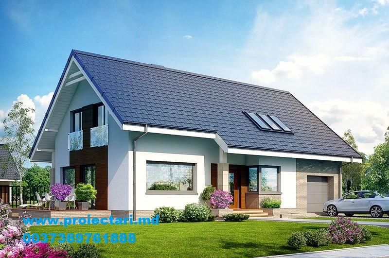 Proiect de casa cu demisol parter si mansarda cu garaj for Proiecte case cu garaj