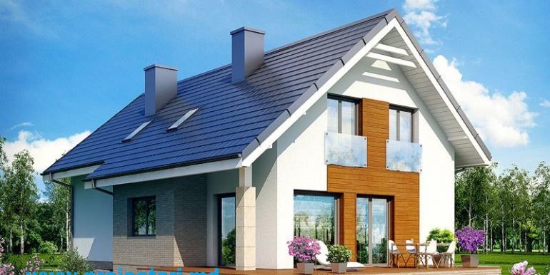 Fatada casa cu mansarda 3d