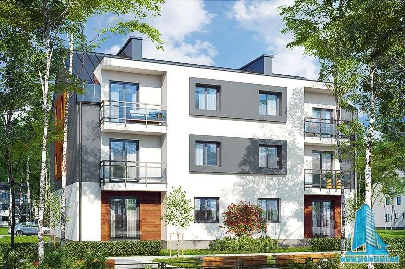 Proiect bloc de locuit cu regimul de inaltime P+2E cu  12 apartamente parcare exterioara