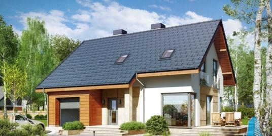 Проект жилого дома с партером, мансардой, гаражом для одного автомобиля и летней террасой-100508