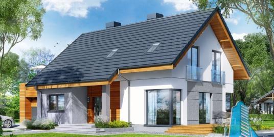 Проект жилого дома с партером, мансардой, гаражом для одного автомобиля и летней террасой-100504