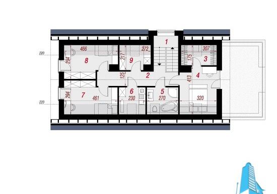 Plan mansarda Proiect cu mansarda si garaj pentru o masina