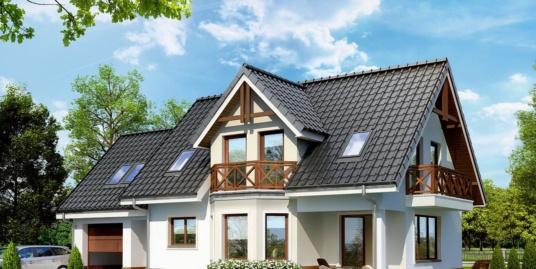 Проект жилого дома с партером, мансардой, гаражом для одного автомобиля и летней террасой-100514