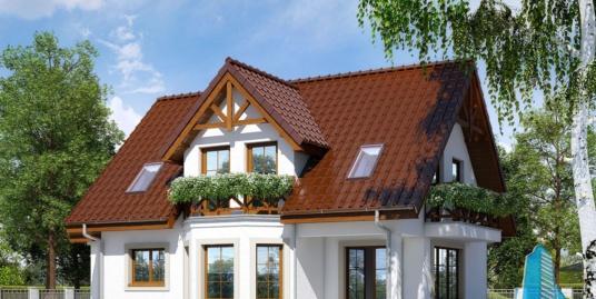Проект жилого дома с подвалом, партером, мансардой, гаражом для одного автомобиля и летней террасой-100518