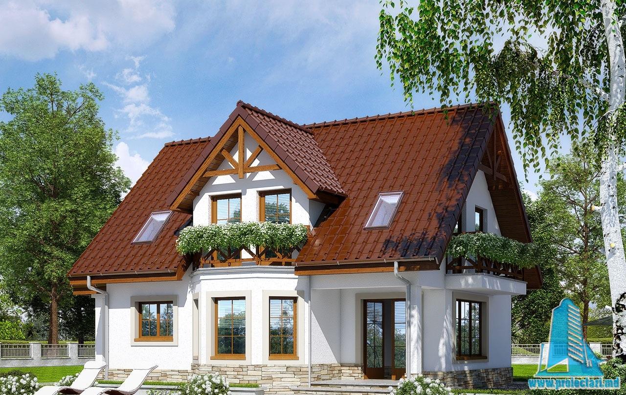 Proiect de casa cu demisol parter si mansarda