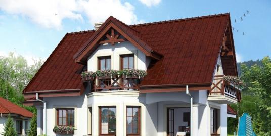 Проект жилого дома с партером, мансардой, гаражом для одного автомобиля и летней террасой-100515