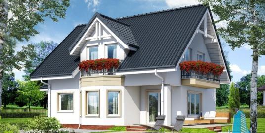Проект жилого дома с партером, мансардой и летней террасой-100513