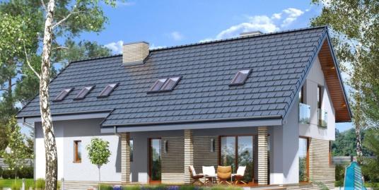 Проект жилого дома с партером, мансардой, гаражом для двух автомобиля и летней террасой – 100507