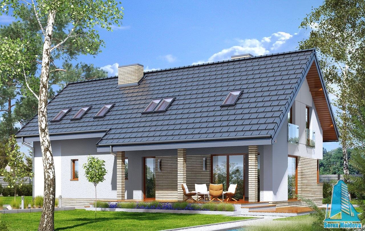 Proiect de casa cu mansarda, garaj pentru doua masini si terasa de vara