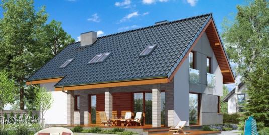 Проект жилого дома с партером, мансардой, гаражом для одного автомобиля и летней террасой-100506