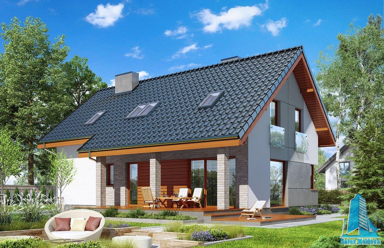Proiect de casa cu parter mansarda si garaj