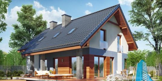 Проект жилого дома с партером, мансардой, гаражом для одного автомобиля и летней террасой -100505