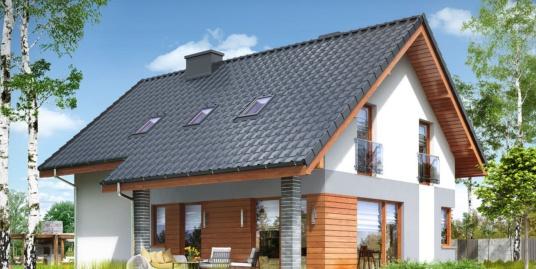 Проект жилого дома с партером, мансардой, гаражом для одного автомобиля и летней террасой-100502