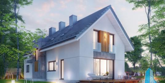 Проект жилого дома с партером, мансардой, гаражом для одного автомобиля и летней террасой-100509