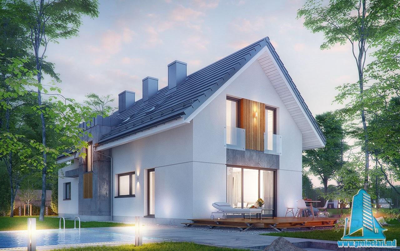 Proiect de casa cu mansarda si garaj pentru o masina