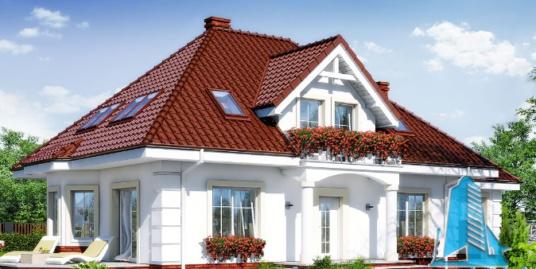 Проект жилого дома с партером, мансардой, гаражом для одного автомобиля-100521