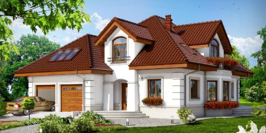 Proiect de casa cu parter, mansarda si garaj pentru doua automobile-100608
