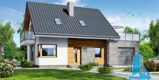 Проект жилого дома с партером, мансардой, гаражом для одного автомобиля и летней террасой-100530