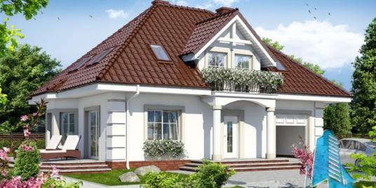 Проект жилого дома с партером, мансардой, гаражом для одного автомобиля и летней террасой-100535