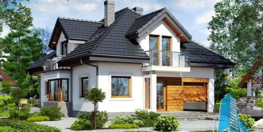 Проект жилого дома с партером, мансардой, гаражом для одного автомобиля и летней террасой-100536