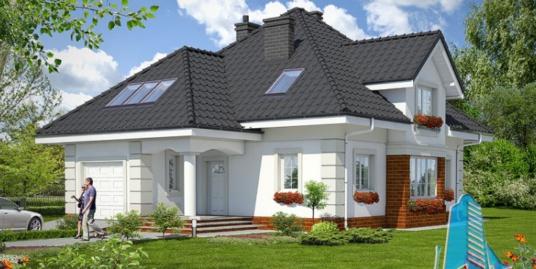 роект жилого дома с партером, мансардой, гаражом для одного автомобиля и летней террасой-100539