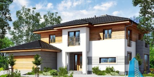 Проект двухэтажного жилого дома с гаражом для одного автомобиля и летней террасой-100522