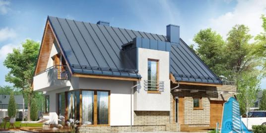 Проект жилого дома с партером, мансардой, гаражом для одного автомобиля и летней террасой -100541