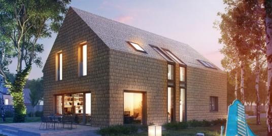 Проект жилого дома с етажом и гараж для одного автомобиля – 100569
