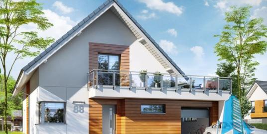 Проект жилого дома с цокольным этажом, мансардой, гаражом для одного автомобиля – 100571