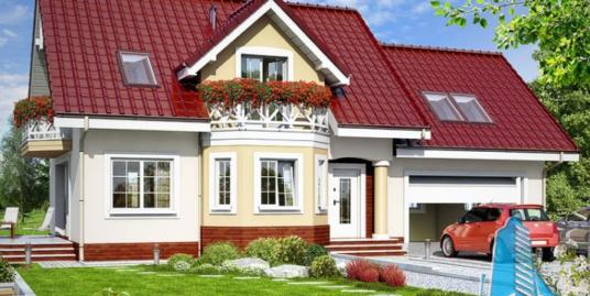 Проект жилого дома с цокольным этажом, мансардой, гаражом для одного автомобиля – 100572