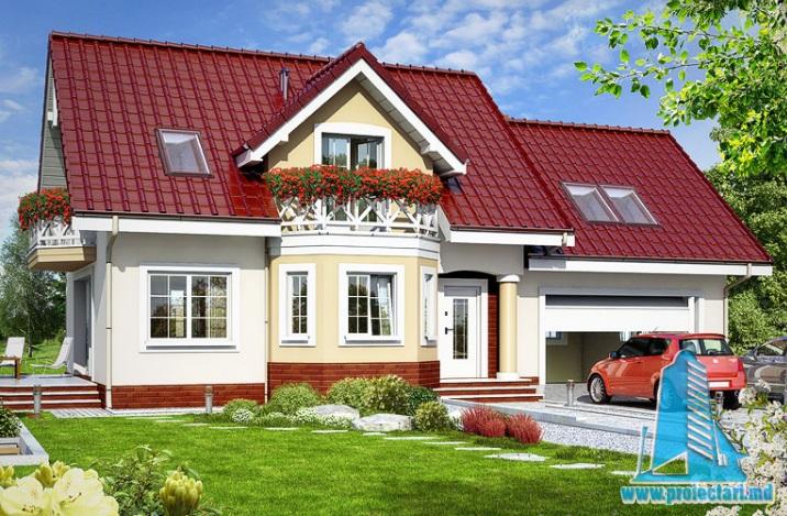 Proiect de casa cu parter, mansarda si garaj pentru doua automobile – 100572