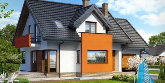 Проект жилого дома с цокольным этажом, мансардой, гаражом для одного автомобиля – 100573