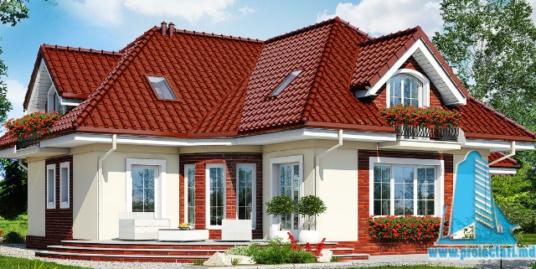 Проект жилого дома с партером, мансардой, гаражом для одного автомобиля и летней террасой 100523