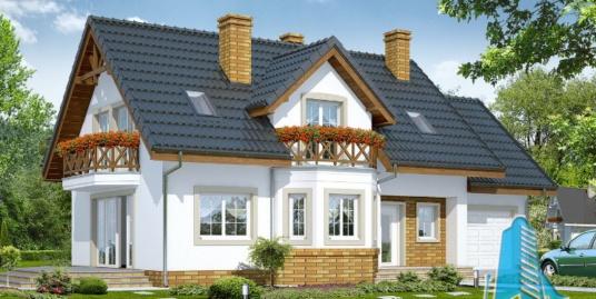 Проект жилого дома с мансардой, гаражом для одного автомобиля – 100575