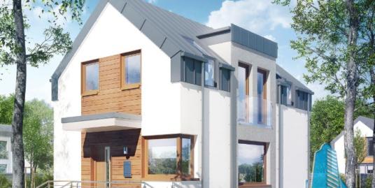 Проект жилого дома с цокольным этажом, партер, гаражом для одного автомобиля – 100576