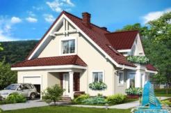 Proiect de casa cu parter, mansarda si garaj pentru un automobil