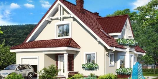 Проект жилого дома с  мансардой, гаражом для одного автомобиля-100589