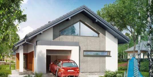Проект жилого дома с  мансардой, гаражом для одного автомобиля-100590