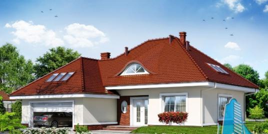 Проект жилого дома с  мансардой, гаражом для 2 автомобиля-100591
