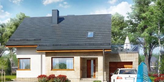 Проект жилого дома с  мансардой, гаражом для одного автомобиля-100592