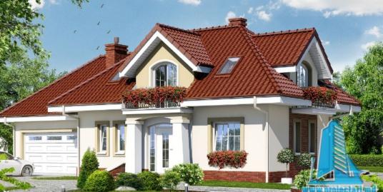 Проект жилого дома с партером, мансардой, гаражом для одного автомобиля и летней террасой-100524