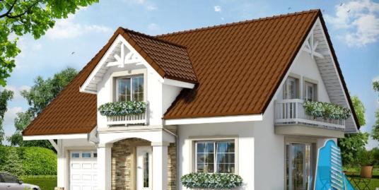 Проект жилого дома с  мансардой, гаражом для одного автомобиля-100598