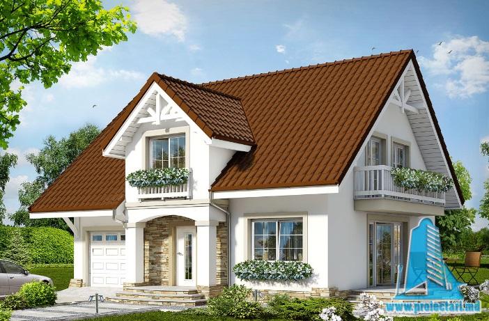 Proiect de casa cu parter, mansarda si garaj pentru un automobil-100598