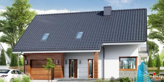 Проект жилого дома с полуподвалом, партер, мансарда и гаражом для одного автомобиля-100600