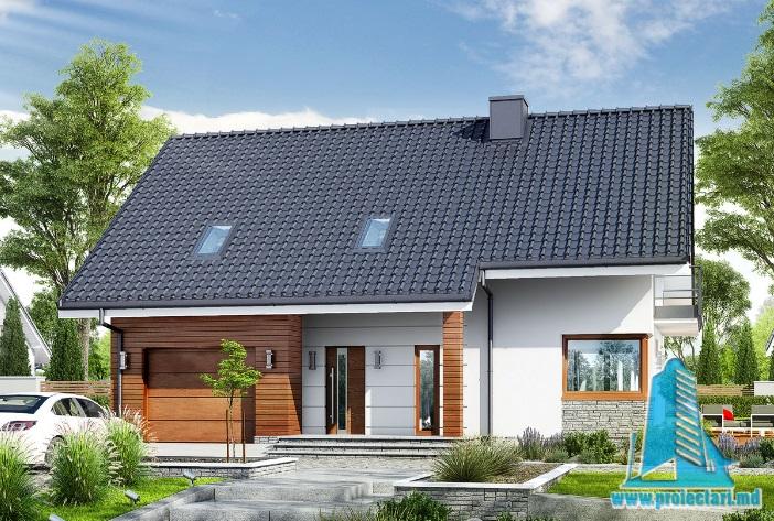 Proiect de casa cu demisol, parter, mansarda si garaj pentru un automobil-100600