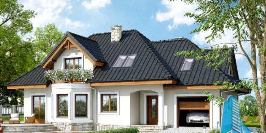 Проект жилого дома с партером, мансардой и гаражом для одного автомобиля -100603