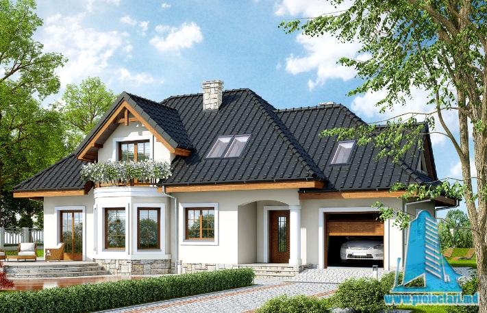 Proiect de casa cu parter, mansarda si garaj pentru un automobil-100603
