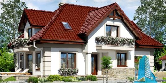 Проект жилого дома с партером, мансардой, гаражом для одного автомобиля и летней террасой-100525